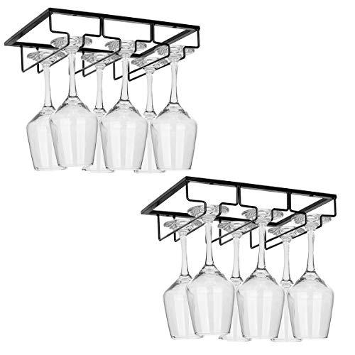 Wine Glass Rack Stemware Rack Under Cabinet Wine Glass Holder Glasses Storage Hanger Metal for Kitchen Bar 3 Row 2 Pack