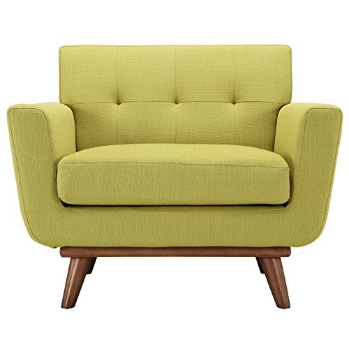 Modway Engage Mid-Century Modern Upholstered Fabric Accent Arm Lounge Chair in Wheatgrass, Armchair