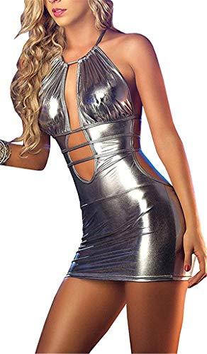 SxyBox Lencería Mujer Sexy Ropa Interior de Charol Mono Mini Vestido Teddy Cabestro Enjaulado Stripper