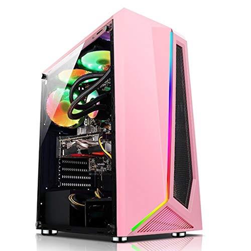 HDYD Caja Rosada ATX, Semitorre For Juegos De PC Case ATX/M-ATX/ITX - E/S Frontal Puerto USB 3.0 - Vidrio Templado - El Agua De Refrigeración Soporte