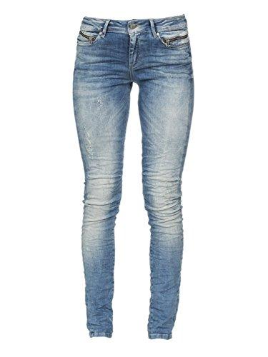 M.O.D Damen Jeans Eva Skinny NOS-2008 Hüft Hose Medium Waist Skinny Leg MOD Lethonia Blue Destr. W31/L30