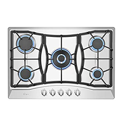 Empava 30 in. Gas Stove Cooktop with 5 3rd Gen Italy Sabaf Sealed Burners in Stainless Steel, 30 Inch, Silver