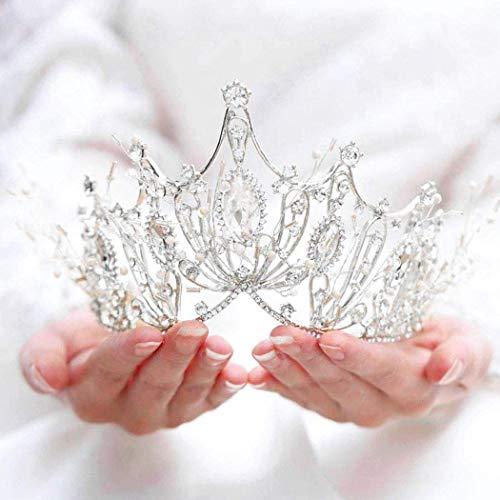 Unicra Braut Hochzeit Krone und Tiara Kostüm Strass Silber Königin Krone für Frauen und Mädchen