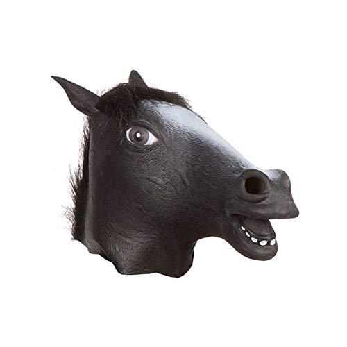 Horsehead Máśḱ, Naturlatex, Kopfbedeckungszubehör für Rollenspiele, Karneval, Fetisch, Bestrafungsspiele Black