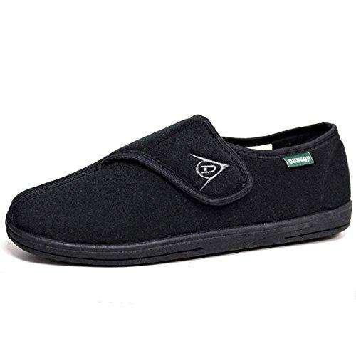 Dunlop Herren Touch Verschluss Verstellbarer Komfort Hausschuhe Größen 6-12, Schwarz - All Black - Größe: 42.5 EU (9 UK)