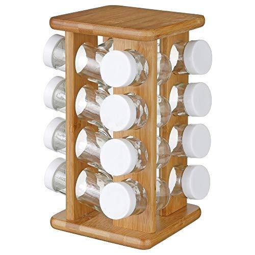 Espositore 16 barattoli portaspezie e erbe aromatiche - Supporto rotante in BAMBÙ e barattoli in vetro