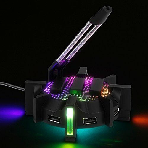 ENHANCE Profi Maus Bungee-Kabelhalter mit 4 Port USB-Hub & 7 LED-Leucht Modi - Kabelmanagement-Unterstützung - Verbesserte Genauigkeit und Design für wettbewerbsfähige Esport-Spiele