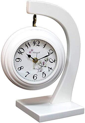ZhenHe Reloj de mesa Familia relojes de madera, marcando no silenciosa Reloj de la chimenea for el dormitorio de la sala del reloj Adecuado for salón dormitorio Oficina (color, blanco), negro Adecuado