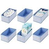 mDesign 6er-Set Baby Organizer aus Polypropylen – Aufbewahrungsbox für Babysachen, Decken etc. – auch zur Spielzeug Aufbewahrung geeignet – blau