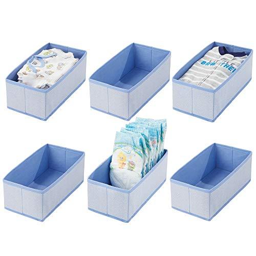 mDesign - Lade-organizer - voor kinder-/babykamers - voor ladekasten en kledingkasten - ruim/open/rechthoekig/zacht/stof - blauw visgraatpatroon - per 6 stuks verpakt