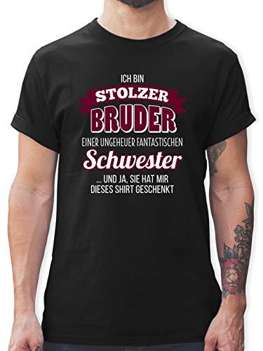Bruder & Onkel - Ich Bin stolzer Bruder - L - Schwarz - Geschenke für Meinen Bruder - L190 - Tshirt Herren und Männer T-Shirts