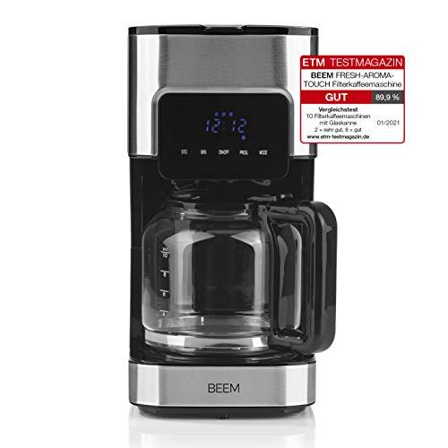 BEEM FRESH-AROMA-TOUCH Filtermaschine - Glas | Kaffeemaschine | Mit 1,25 L Glaskanne | Edelstahl | Permanentfilter | Timer | Aromafresh | 900 Watt