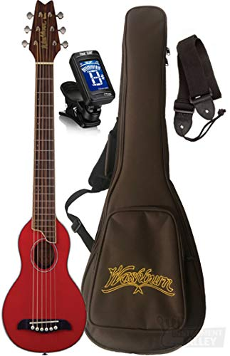 Washburn RO10SK Rover Spruce Top Acoustic Travel Guitar with Bag, Tuner, Strap  (Natural)