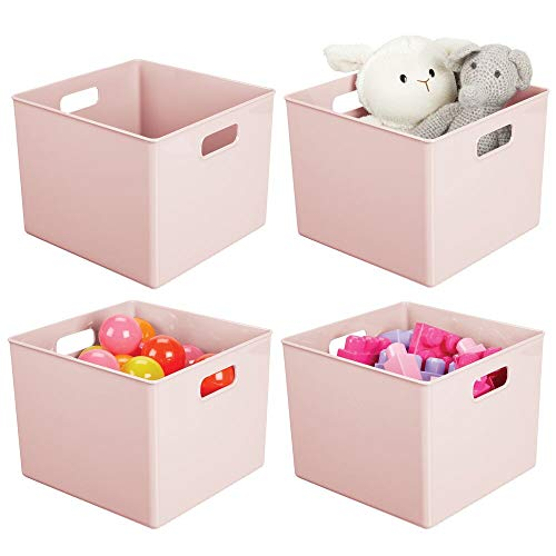 mDesign Plastic Home Storage Organizer Bin for Cube Furniture Shelving in Office, Entryway, Closet, Cabinet, Bedroom, Laundry Room, Nursery, Kids Toy Room - 7.5' High - 4 Pack - Light Pink/Blush