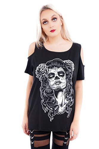 Ro Rox T-Shirt Camiseta Chica Dia de los Muertos Gótica Goth Hombros Cut-out - (4XL)