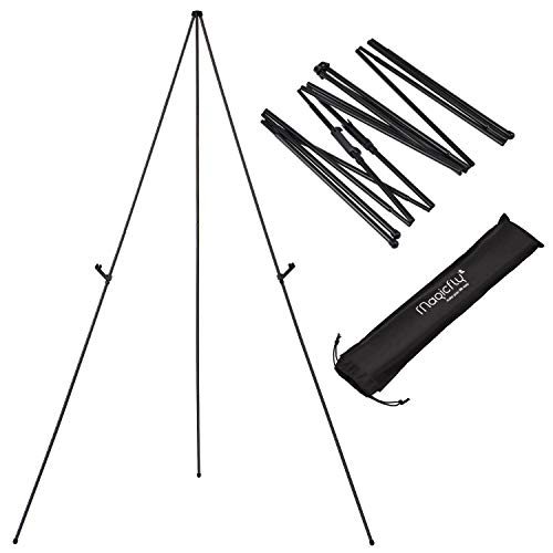 Magicfly Display Easel, 63 Inch Telescoping Easel Aluminum Easy-Folding Easel, Black, 1 Pack