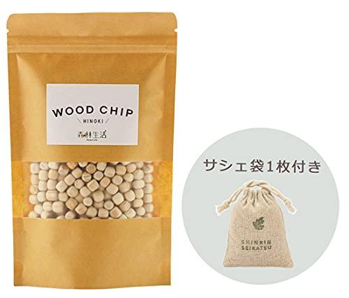 森林生活 ウッドチップ(WOOD CHIP) ひのき【サシェ袋1枚付】200ml アロマ インテリア 除湿 ガーデニングなどに (ひのき)