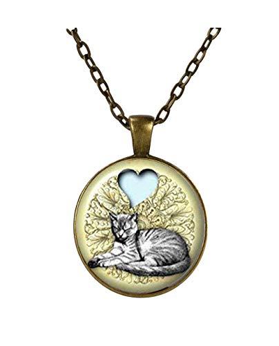 Heng yuan tian cheng Love My Cat collar de gato gris, regalo de gatito para mujeres, gato joyero gato idea regalo animal colgante