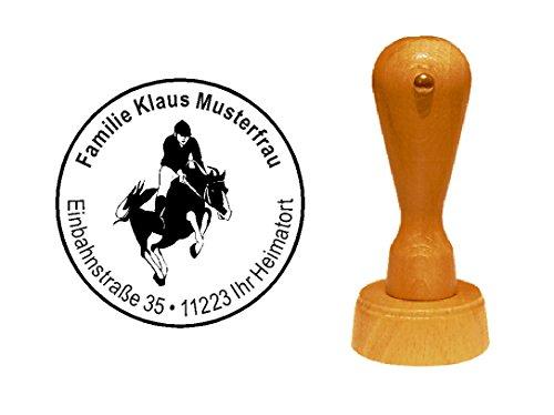 Stempel, houten stempel, motiefstempel, met persoonlijke adres, paardrijden, dressure, paardrijden