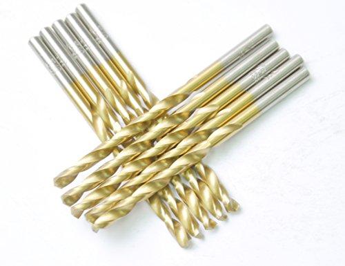 "DRILLFORCE HSS Jobber Length 10 PCS,7/32"" x 3-3/4""Titanium Coated Twist Drill Bits, Metal drill, ideal for drilling on mild steel, copper, Aluminum, Zinc alloy etc. Pack In Plastic Bag (7/32)"