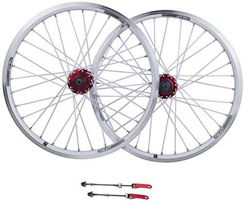 AIFCX Juego de Ruedas de Bicicletas, de 26 Pulgadas de aleación de Aluminio MTB Ruedas V-Brake Disc aro Freno Cerrado con 11 Híbrido Velocidad del Viaje de la Bici,White-26inch