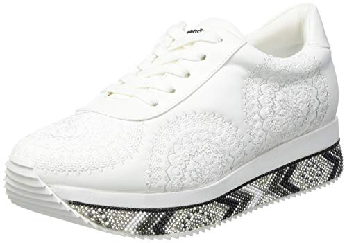 Desigual Shoes_Platform_Indian MA, Sneakers Woman Donna, Bianco, 36 EU