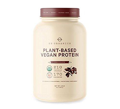SB Organics Vegan Protein Powder 2.5 lbs - Organic Plant Based Vegan Vegetarian High Protein Powder Shake Mix - 21 Grams of Vegetable Protein - Chocolate - 30 Servings