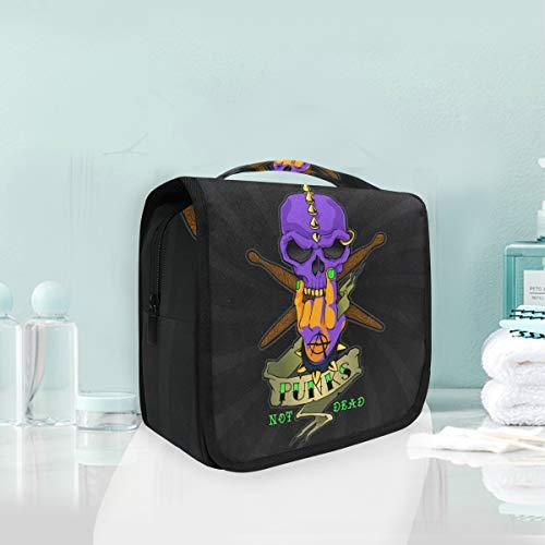Arte Del Cráneo Muerto Púrpura Trousse De Toilette Sac Pliable Suspendu Cosmétique Sac Rangement Maquillage sacs pour Voyage Femmes Filles