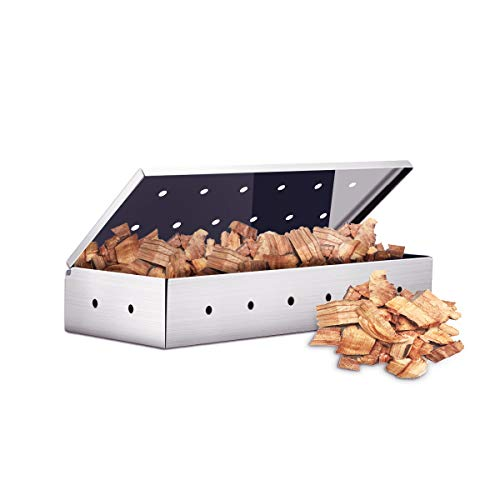 IREGRO Smokerbox Räucherbox 22.7x9.5x4cm Aromabox aus rostfreiem Edelstahl Grillzubehör für Gasgrill, Kohlegrill und Kugelgrill Aromabox