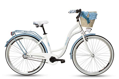 Goetze Blueberry 28 Zoll Damen Citybike Stadtrad Damenfahrrad Damenrad Hollandrad Retro-Design 3-Gang Korb Hinterradbremse LED-Beleuchtung Blau