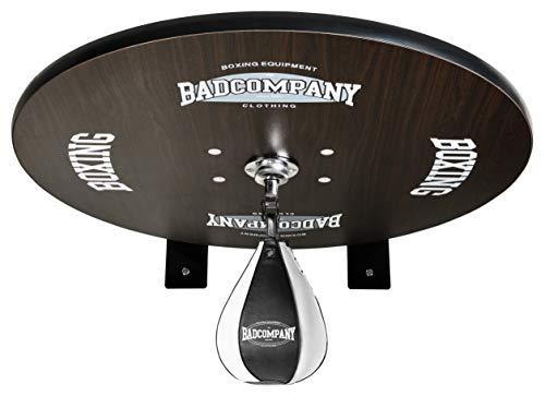 Premium Speedball Plattform Set inkl. Drehkugellagerung schwarz und PU Boxbirne medium schwarz/Boxapparat für die Wandmontage BCA-40