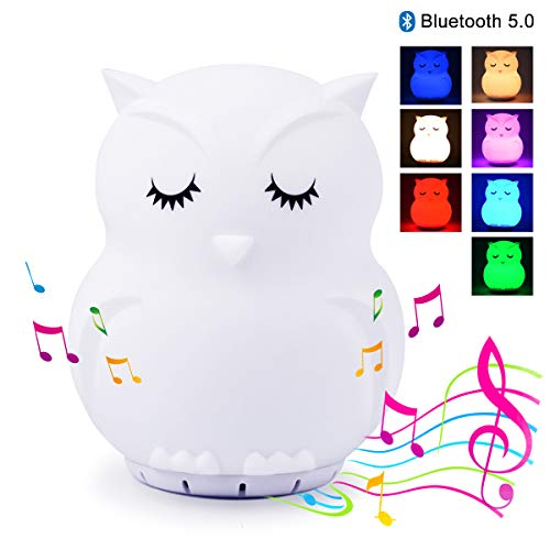 Kids Night Light with Bluetooth Speaker, LED Cute Animal Owl Nightlight, Portable Rechargeable Multi-Color Changing Muscial Table Lamp, Safety ABS Silicone Material for Baby Girls Toys