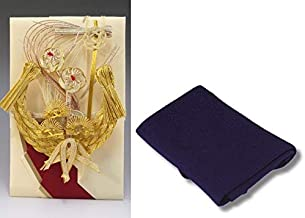 結納金だけの結納品(金封・祝儀袋)【宝船】(結納用)袋のみ・正絹ちりめん風呂敷68cm(紫)付き