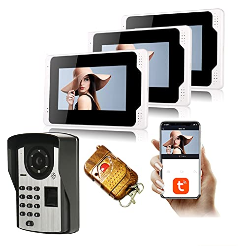 Tuya Smart Timbre de video WIFI de 7 pulgadas, 3 Monitor + 1080p Cámara de seguridad de la visión nocturna, teléfono de la puerta de video, APP de contraseña de huella digital Desbloqueo