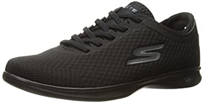 Skechers Women's Go Step Lite Dash Walking Shoe,Black Mesh,8.5 W US