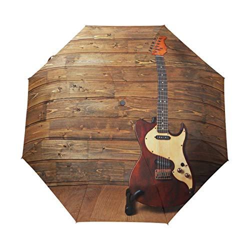 Suzanne Betty Paraguas de viaje con cierre automático, guitarra eléctrica sobre madera,...