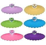 CaLeQi - Tapas de silicona para tazas, diseño de taza de cristal, 6 set (colore...