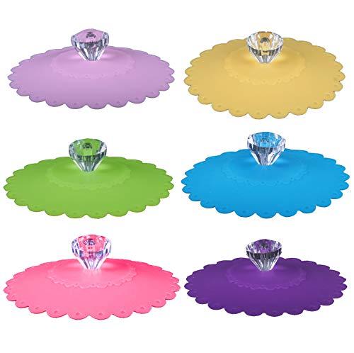 CaLeQi - Tapas de silicona para tazas, diseño de taza de cristal, 6 set (colore casuale)