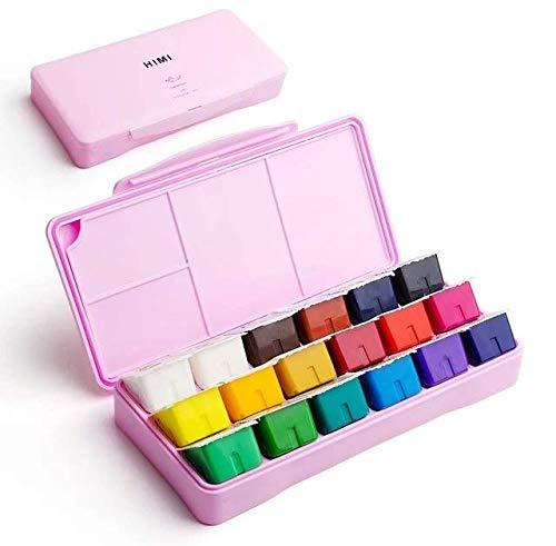 HIMI Gouache Paint Set,18 Colors x 30ml Unique Jelly Cup Design, Portable Case with Palette for Artists, Students, Gouache Watercolor Painting (Pink)