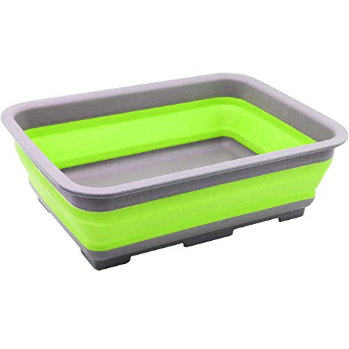 com-four® Abwasch-Schüssel aus Silikon, Faltbare Camping-Schüssel [Farbe variiert] (01 Stück - bunt V1)
