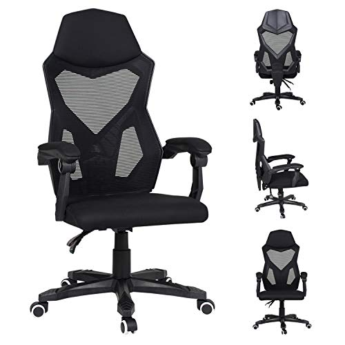Ergonomic Office Chair for Home,High-Back Reclining Computer Mesh Chair with Arms and Headrest Swivel PC Gaming chair Desk Chair for Bedroom(Black)