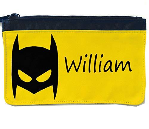 tigerlilyprints gepersonaliseerd potloodgeval, potloodzakken, terug naar school, schoolpotloodtas, Batman masker