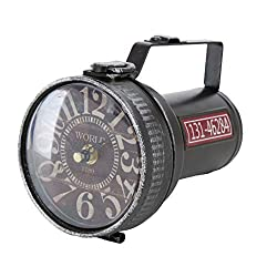 Vintage Faux-Flashlight Clock, Metal, Quartz Movement, Round Face, Black, Flip Latch, Battery Powered (1 AA) 7.0 L x 6.0 W x 4.25 H Inches, 0.75 lb Distressed, For Tables, Desks or Dressers