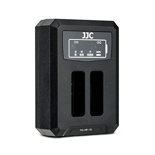 JJC Cargador de Batería Dual USB para Canon PowerShot G1X Mark III, G5X, G7X, G7 X Mark II, G9X, G9X Mark II, SX740 HS, SX730 HS, SX720 HS, SX620 HS Cámaras Reemplaza Canon NB-13L