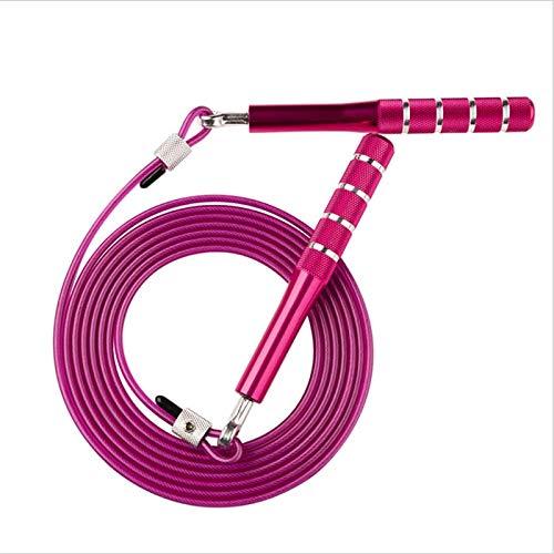 Dabeigouztiaos Cuerda Saltar, El Material de Salto de la Cuerda de la Cuerda de la Cuerda Salta la Cuerda con Asas de Metal para Mantener su Cuerpo Sano (Color : Purple)