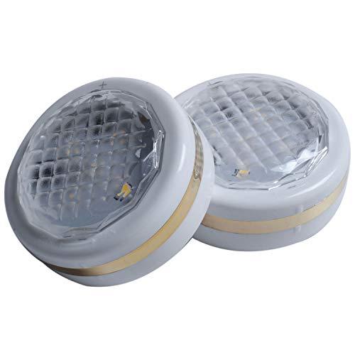 Baalaa Luces LED Puck con control remoto 6 unidades, iluminación LED debajo del gabinete, luces de disco funcionan con pilas, luz de armario, iluminación bajo mostrador, palo en las luces doradas
