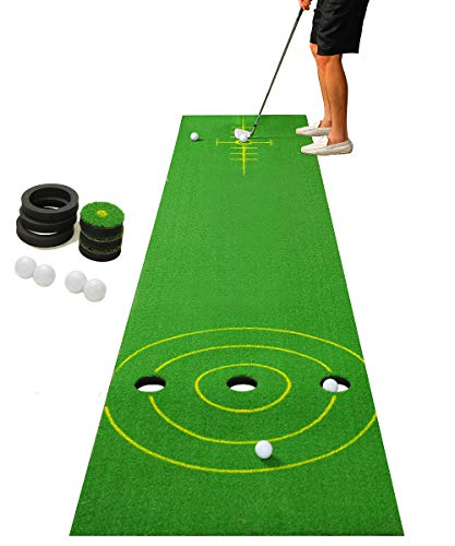 SHOWTIMEZ Putting Matte, Professionelle Puttingmatte Golf Übungsmatte Tragbare Minigolf Golfübungsgeräte für Indoor Zuhause Büro Outdoor mit Golfball, 3,5m x 0,72m, Grün