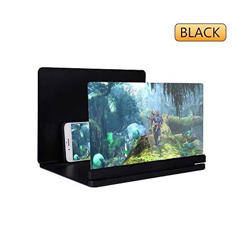 Kitchen-dream Mobile Screen Magnifier - 3D Mobile Phone Amplifying Screen Supporto desktop pieghevole per tutti i modelli di smartphone (Nero)