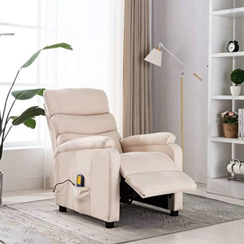 FAMIROSA Poltrona Massaggiante Reclinabile Crema in Tessuto-1235