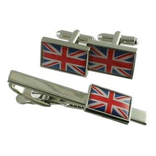 Designer Union Jack Flag Cufflinks & Matching Tie clip Bar - Sélectionnez Cadeau